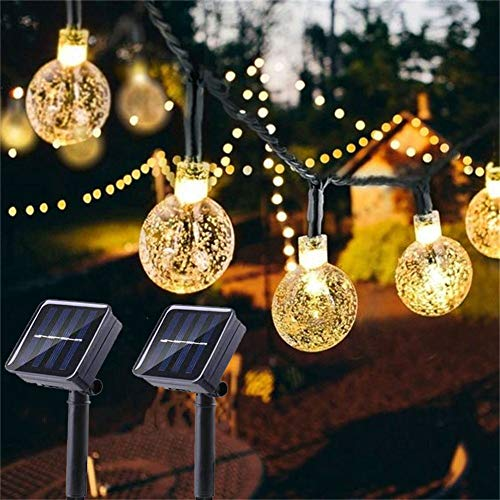 Solar Globe String Lights 2 Pack 30 LED 19.8ft Outdoor Crystal Ball Christmas Decoration Light...