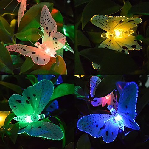 Ucharge Solar Power String Lights 12 LED Animal Design Multi-Color Fiber Optic Butterfly Decorative...