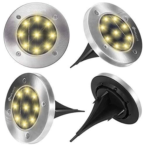 YUNLIGHTS Solar Ground Lights Outdoor Solar Garden Lights 9LED 4PCS Yard Disk Lights, IP65...
