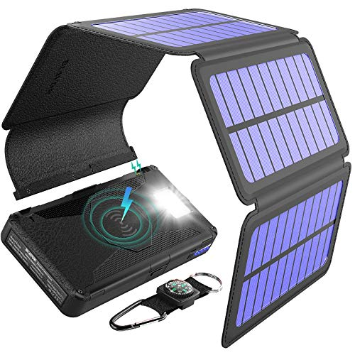 BLAVOR Solar Charger Five Panels Detachable, Qi Wireless Charger 20000mAh Portable Power Bank with...