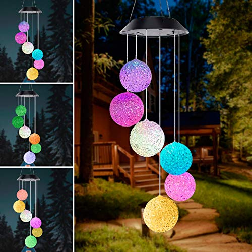 Muasdae Color Changing Solar Wind Chime,LED Solar Powered Crystal Ball Wind Chimes,Wind Bell Lights...