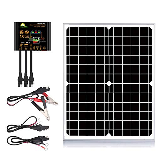 SUNER POWER 10W 20W 30W 50W Solar Panel Kit + 10A Photocell Waterproof Charge Controller+ SAE...
