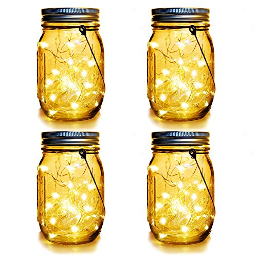 WERTIOO 4 Pack Solar Mason Jars Lights,30 LEDs Hanging Solar Lanterns Garden Decor Outdoor Lights...