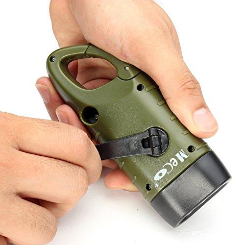 MECO Hand Cranking Solar Powered Rechargeable Flashlight Emergency LED Flashlight Carabiner Dynamo...
