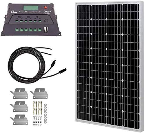 HQST 100 Watt 12 Volt Monocrystalline Solar Panel Kit with 20A PWM LCD Common Postive Solar Charge...