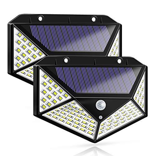 Solar Lights Outdoor, Solar Powered Motion Sensor Lights 100 LEDs Outdoor Waterproof Wall Light...