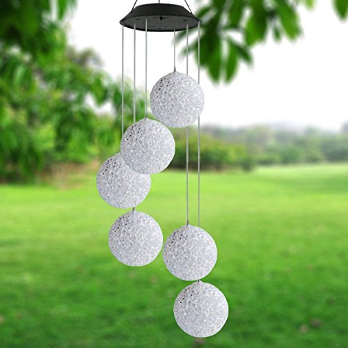 Yooda Crystal Ball Solar Wind Chimes LED Color-Changing Wind Mobile Outdoor Waterproof Solar Powered...