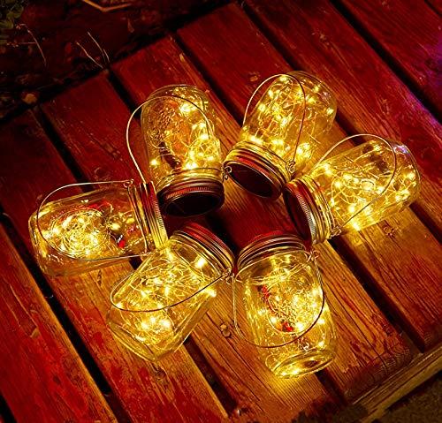 Solar Mason Jar Lights, 6 Pack 10 LED Jar Lid String Lights with 6 Hangers(No Jars), Waterproof...