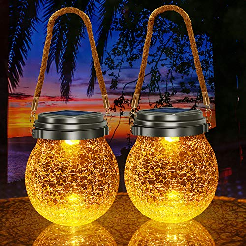 TonyEst Outdoor Hanging Solar Lights, 2-in-1 Amber Warm Solar Lantern Glass Ball Waterproof Garden...