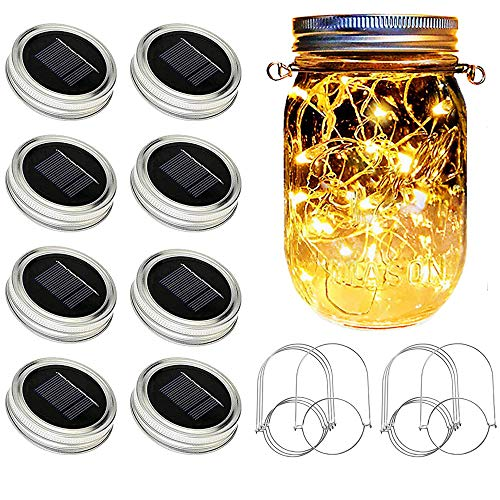Solar Mason Jar Lights [Updated], 8 Pack 20 LED Waterproof Fairy Firefly Jar Lids String Lights with...