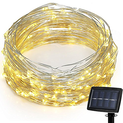 Hallomall LED Solar Powered String Lights, 2 Modes Steady on / Flash, 150 LED, 72 Feet, Warm White