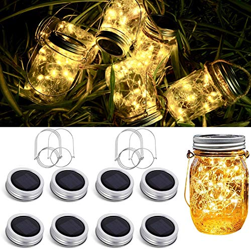 8 Pack Solar Mason Jar Lid String Lights,Warm White Waterproof String Fairy Star Firefly Lights with...