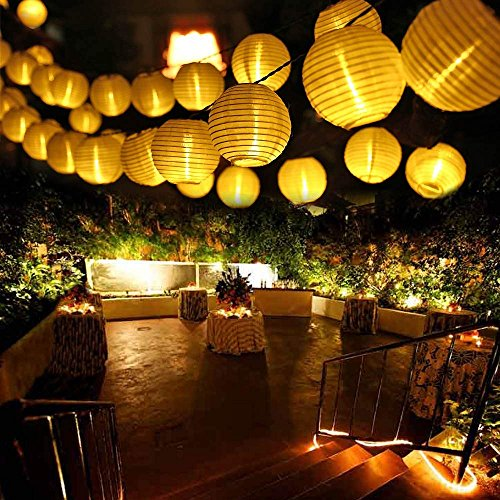 LUCKLED Outdoor Fairy Lantern Solar String Lights, 19.7ft 30 LED Christmas Globe Lights for Indoor...