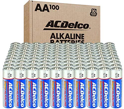ACDelco 100-Count AA Batteries, Maximum Power Super Alkaline Battery, 10-Year Shelf Life,...