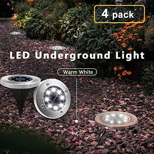 Solar Garden Ground Lights Outdoor Diamond Stake Lights Landscape Lighting Stainless Steel Pathway...
