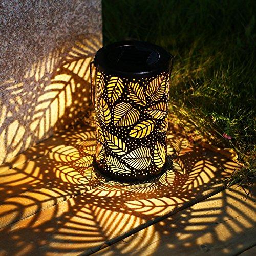 TAKE ME Solar Lantern Lights Outdoor,Garden Hanging Lights Metal Leaf Pattern Lights Lamp for...