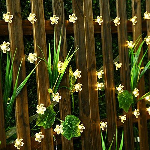SKYFIRE Led Flower Fairy Lights,22ft 50 Led Blossom Solar Fairy Lights Solar Flower String Lights...