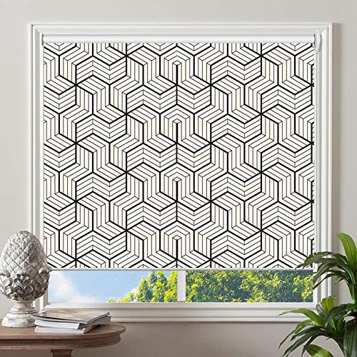 PASSENGER PIGEON Blackout Window Shades, Black in White Patterned Premium Thermal Insulated UV...