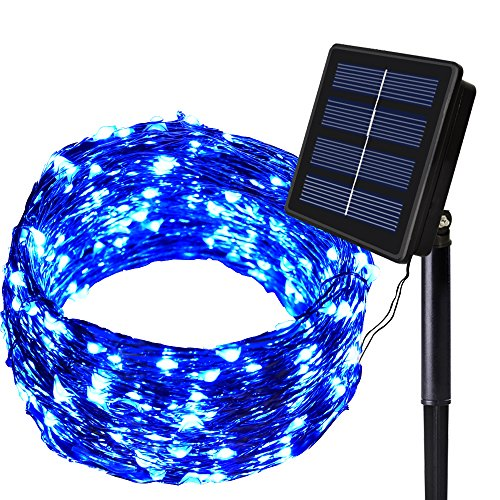 Solar String Lights Outdoor ,Blue 150 LED Solar Lights Fairy Garden 8 Modes Waterproof Solar Power...