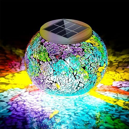 Pandawill Color Changing Mosaic Solar Light, Multi-colored1 Waterproof/Weatherproof Crystal Glass...