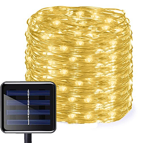 Aluvee Solar Copper Wire String Lights,50ft/150LED Outdoor Waterproof Garden Decoration Copper Wire...