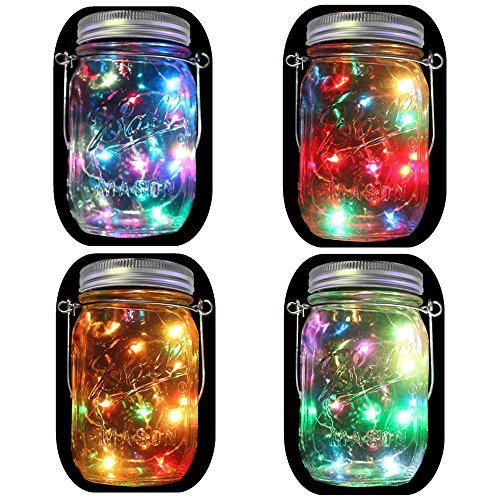 4-Pack Solar Powered Mason Jar Lights (Mason Jar & Handle Included),5 Colors 20 Bulbs Jar Hanging...