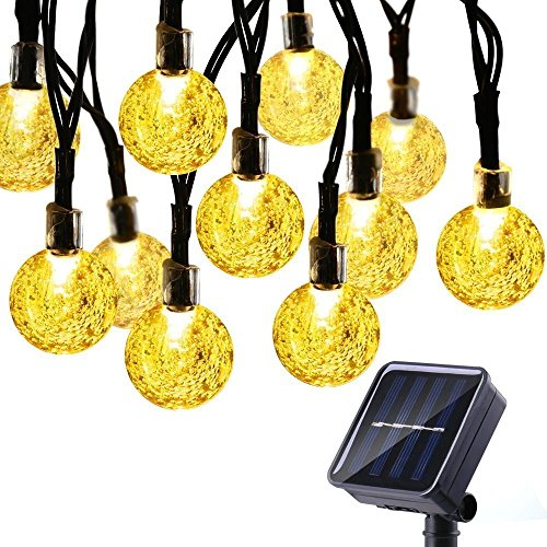 Icicle Solar String Lights 20FT 30 LED Crystal Globe Lights with 8 Modes, Solar Powered Waterproof...