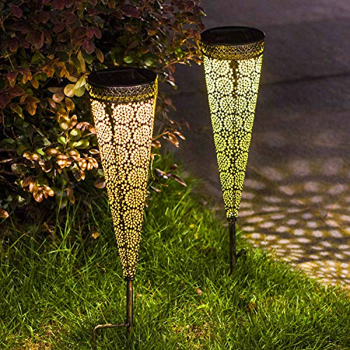 [Set of 2]TAKE ME Metal Solar Pathway Lights Garden Outdoor,Waterproof Decorative Stakes for...