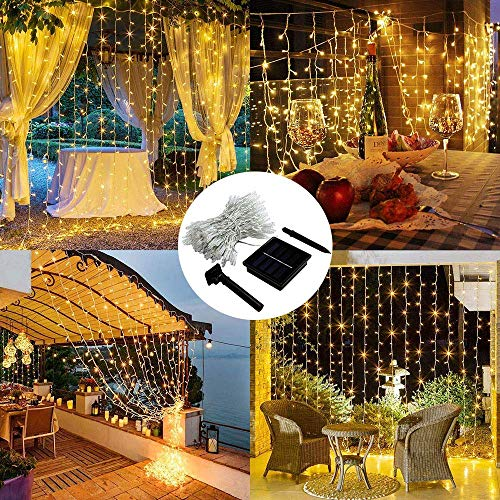 MagicLux Tech 300 LED Solar Curtain String Lights 8 Mode Decorations for Window, Garden, Yard,...